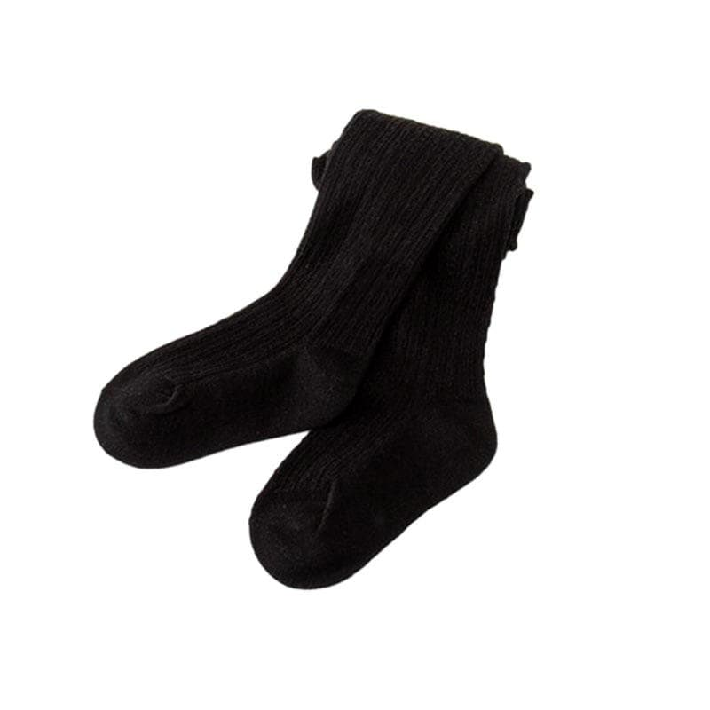 Black cable knit seamless tights for baby and kids.