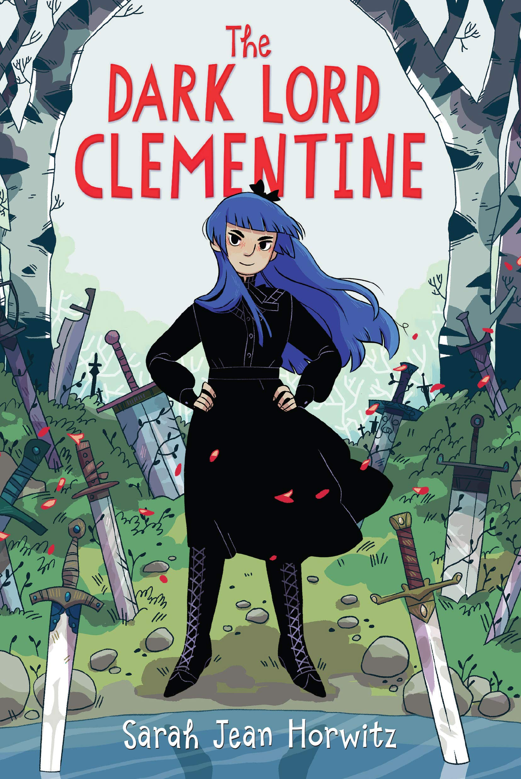 Book cover for The Dark Lord Clementine, showing a young girl with purple hair in a black dress. Swords stick up from the surrounding ground.