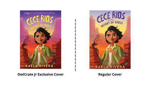 Left image shows OwlCrate Jr exclusive edition of Cece Rios, showing a dark purple sunset fading into pale yellow. Right image shows regular cover of Cece Rios, a light purple sunrise fading in to yellow.