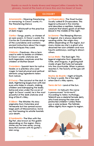 Glossary terms from Cece Rios and the Desert of Souls. Downloadable content available.