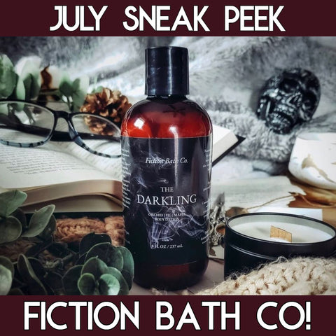 """Graphic of a bottle of brown lotion with a black label that says """"Fiction Bath Co. The Darkling Orchid Fig Maple Body Lotion"""" to the left of a book and the right of a candle surrounded by a brown and grey blanket and a skull in the background"""