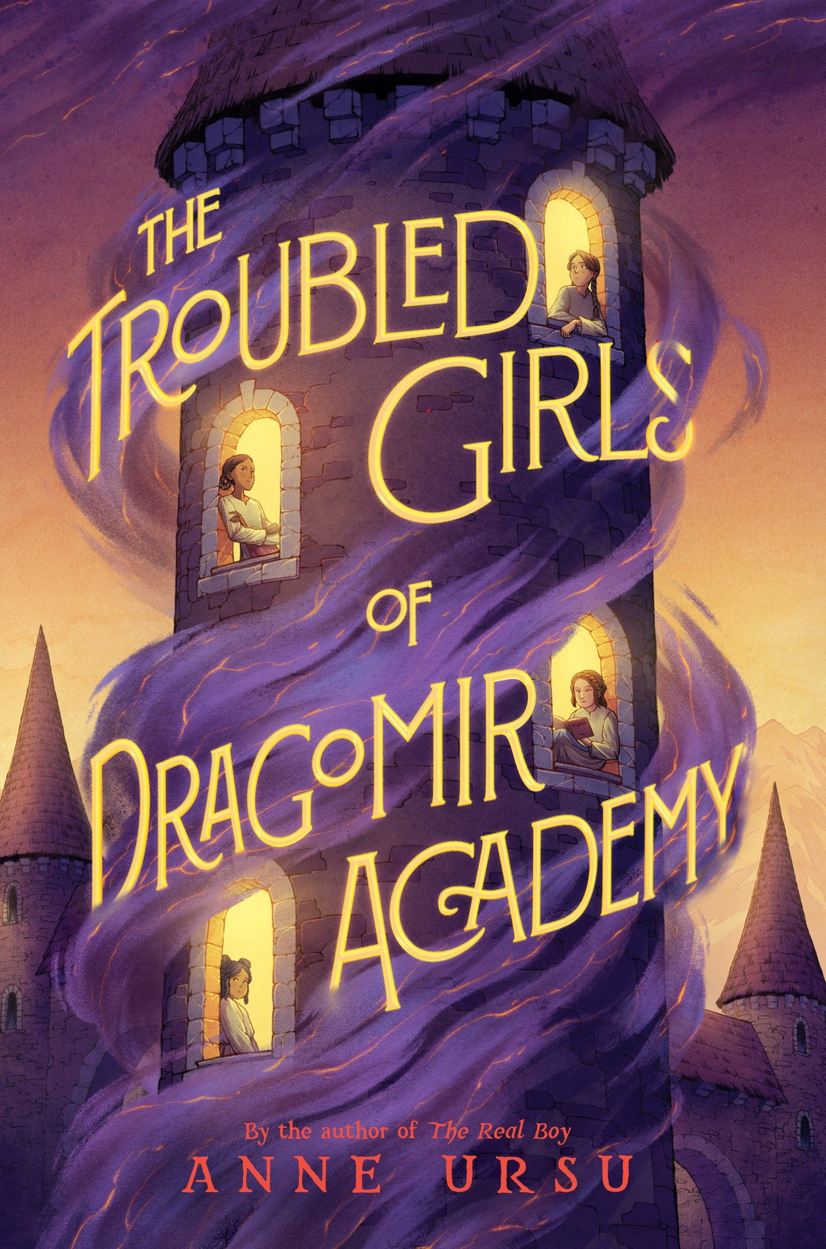 Book cover of The Troubled Girls of Dragomir Academy, showing a stone tower with four girls looking out four windows. Purple magical smoke crawls up the tower.