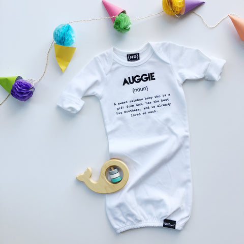 Custom Name Definition™- Newborn Sleeper Gown