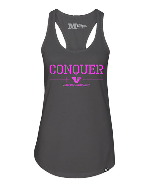 Vent Conquer Womens Racerback Heather Grey