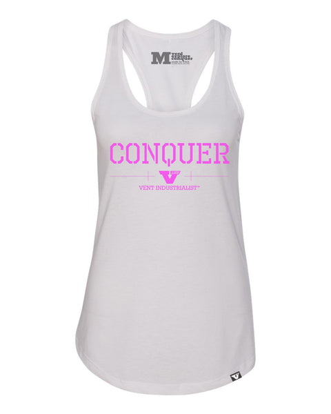 Vent Conquer Womens Racerback White