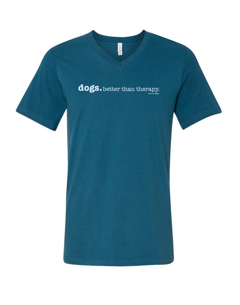 Dogs...Better Than Therapy Short Sleeve T-Shirt V Neck