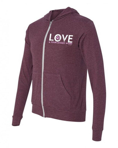 Love A Four Legged Word Zipper Hoodie