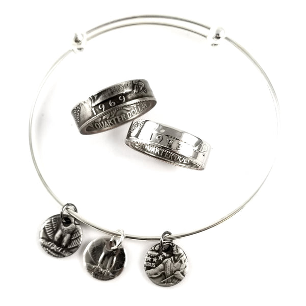 1965-1998 Quarter Ring & Charm Bracelet Set by midnight jo