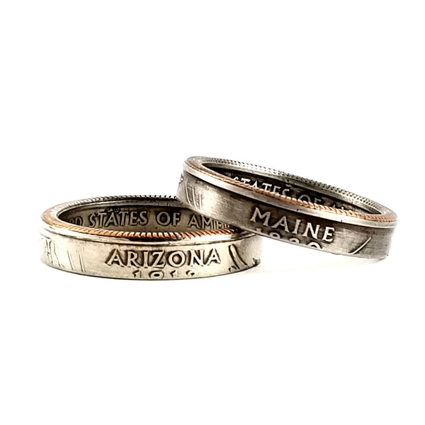 State Quarter Narrow Band Coin Ring by midnight jo