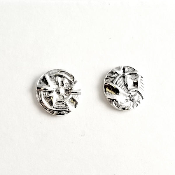 Sterling Silver Floral Spoon Stud Earrings by Midnight Jo