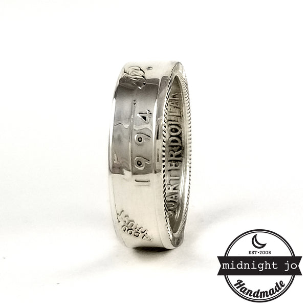 silver 1994 washington quarter ring - 25th birthday gift by midnight jo