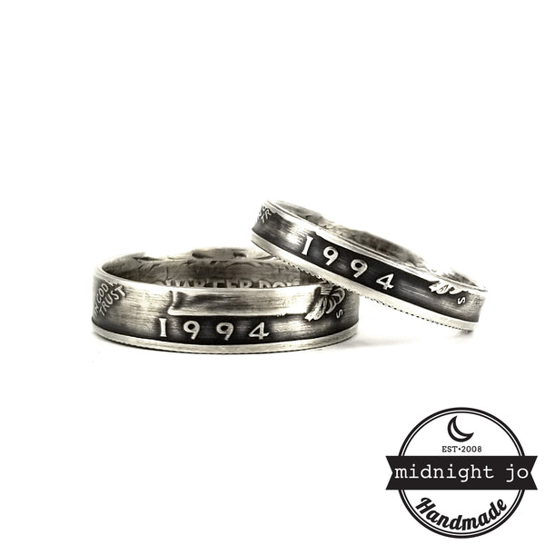 Silver 1994 Quarter Ring Set - 25th Anniversary His & Hers Ring Set by midnight jo