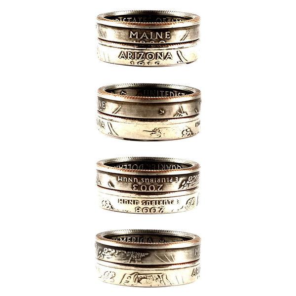 State Quarter Stacking Coin Ring Your Size & State