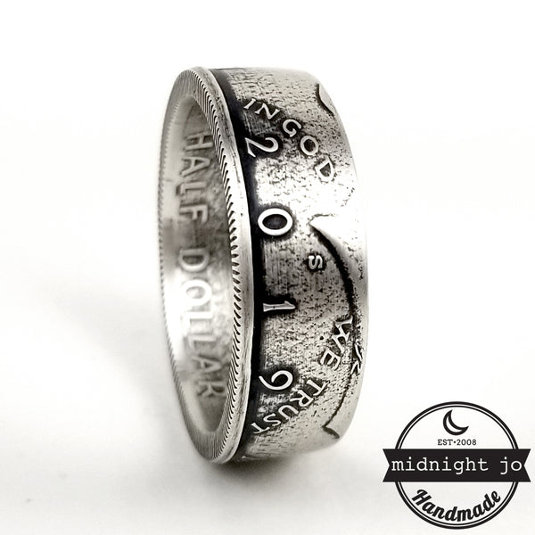 99.9% Fine Silver 2019 JFK Half Dollar Coin Ring by midnight jo