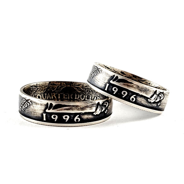 90% Silver 1996 Washington Quarter Matching Ring Set - 25th Anniversary Gift