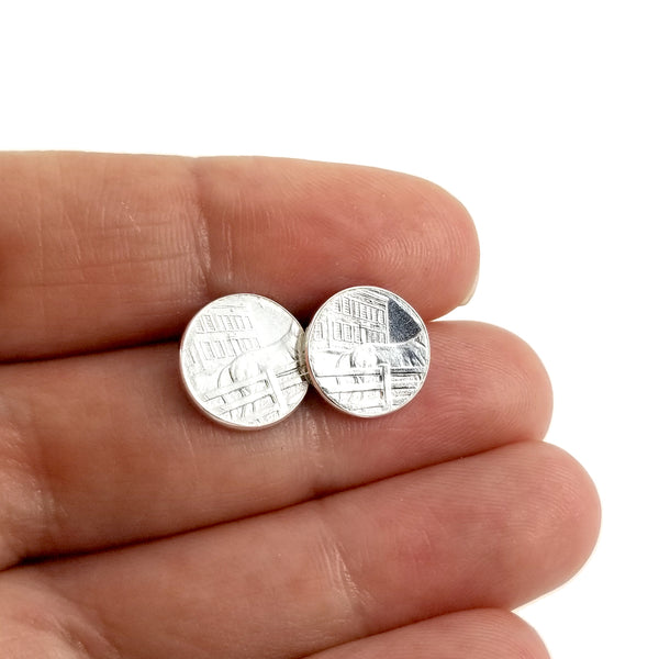 silver coin stud earrings in hand by midnight jo