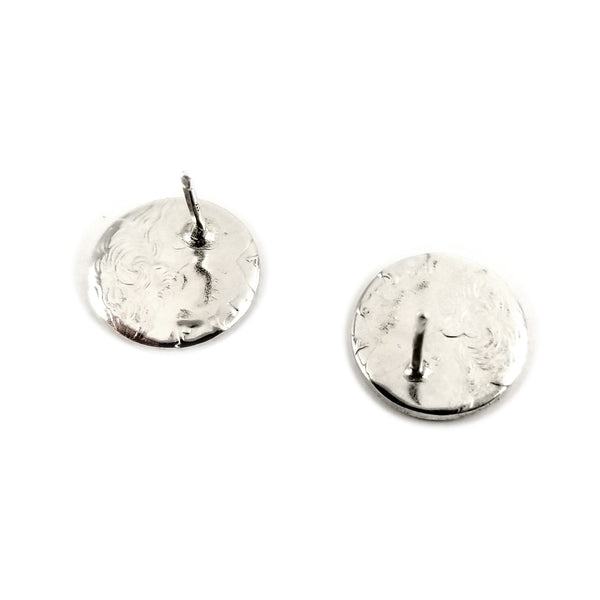 silver coin stud earrings by midnight jo