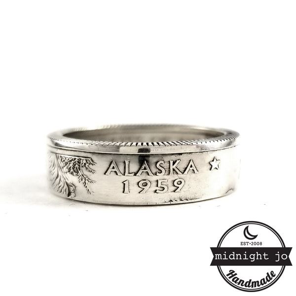 90% Silver Alaska quarter Ring by midnight jo