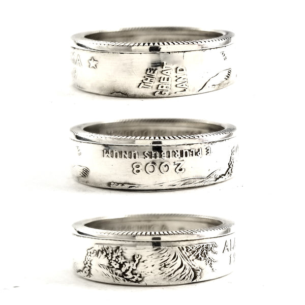 90% Silver Alaska quarter Coin Ring by midnight jo
