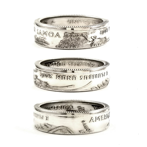 Silver American Samoa quarter Coin Ring by midnight jo