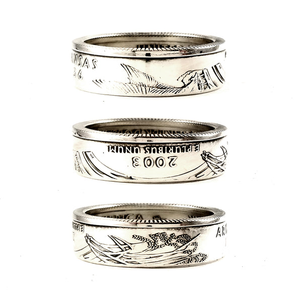 90% Silver Arkansas quarter Coin Ring by midnight jo