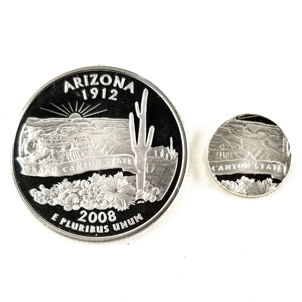 silver arizona proof quarter with punch out by midnight jo