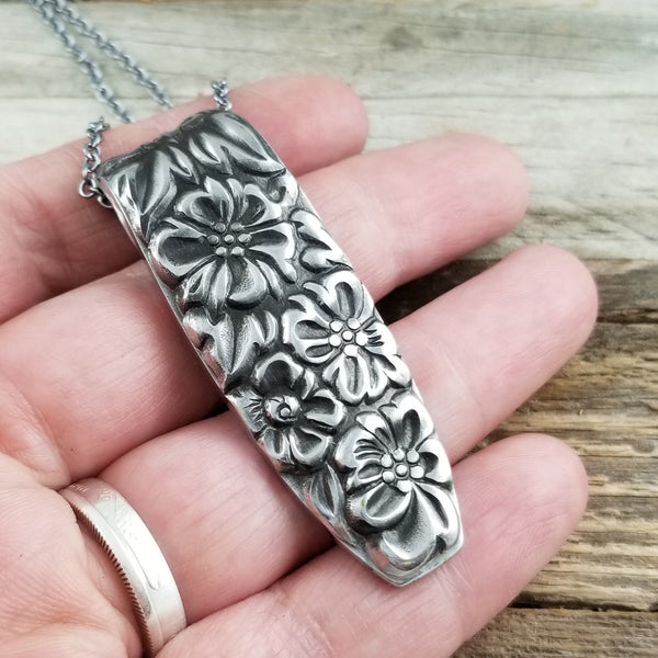 floral stainless steel spoon necklace pendant