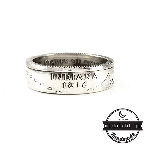 Silver Indiana quarter Coin Ring by midnight jo