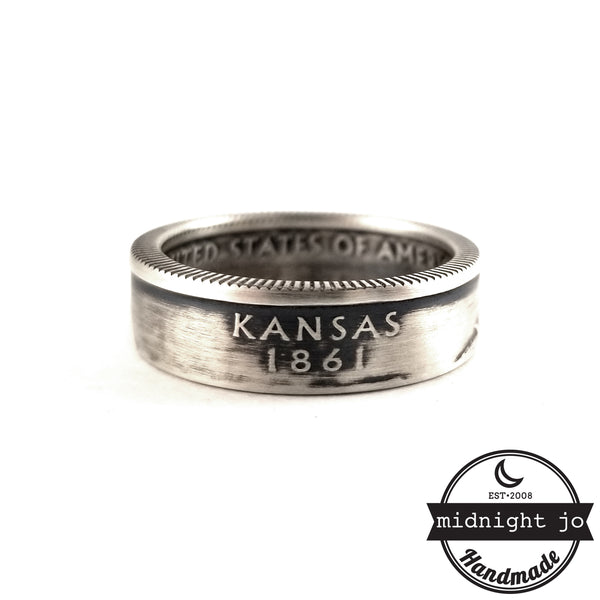 90% Silver Kansas Quarter coin Ring by midnight jo