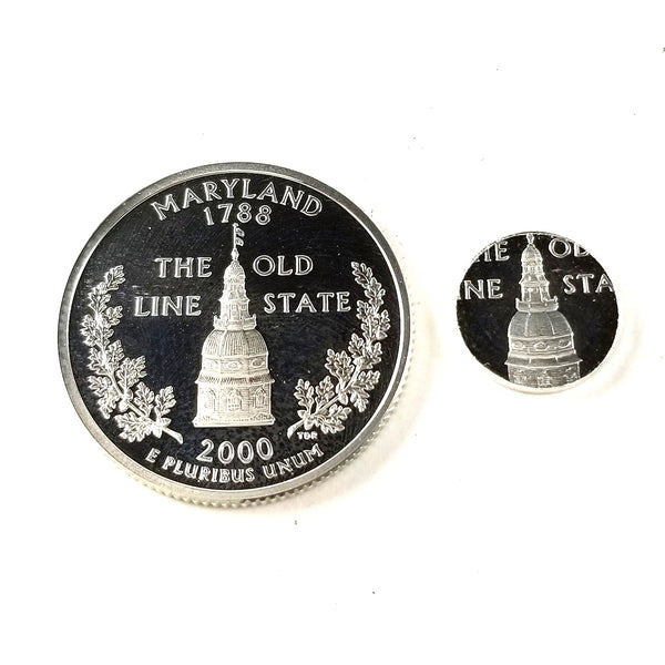 silver maryland proof quarter and punch out