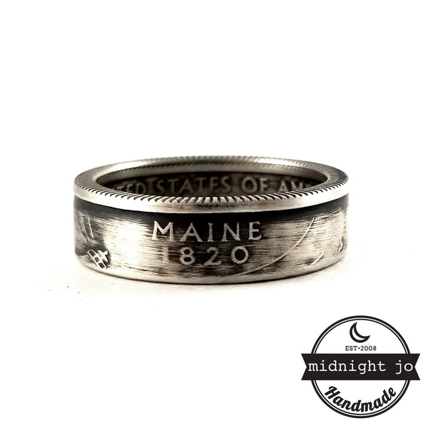90% Silver Maine quarter  Ring by midnight jo