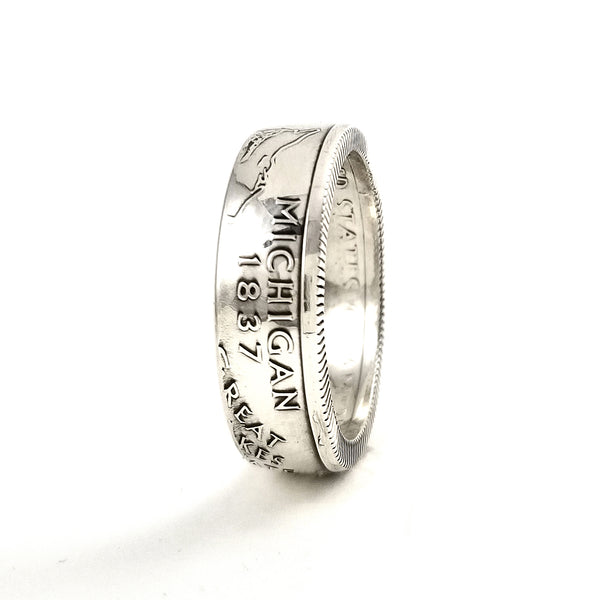 90% Silver Michigan Quarter Ring by midnight jo