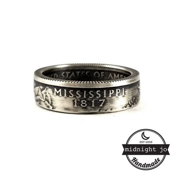 90% Silver Mississippi Quarter coin ring by midnight jo