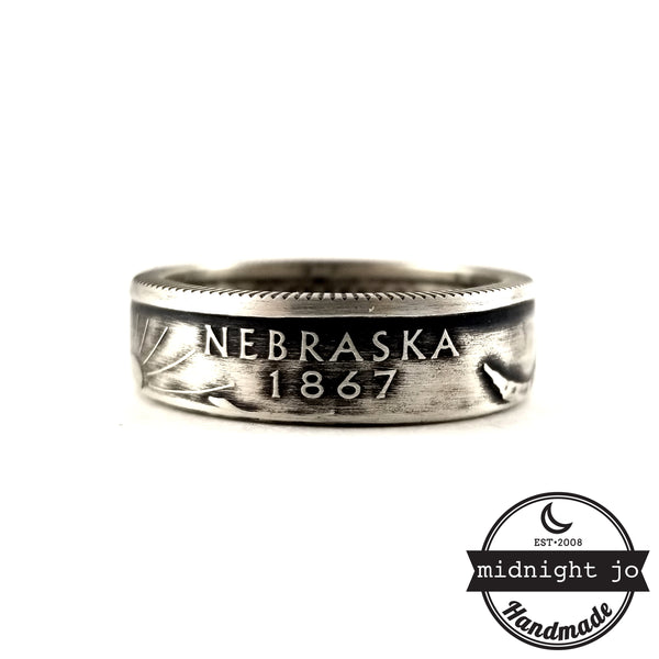 nebraska state quarter coin ring silver