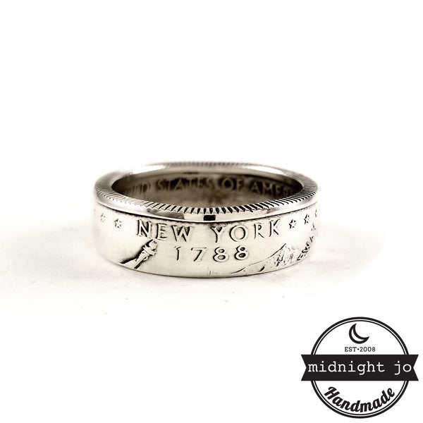 new york silver state coin ring