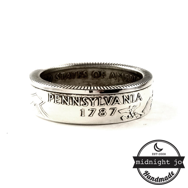 silver pennsylvania coin ring by midnight jo
