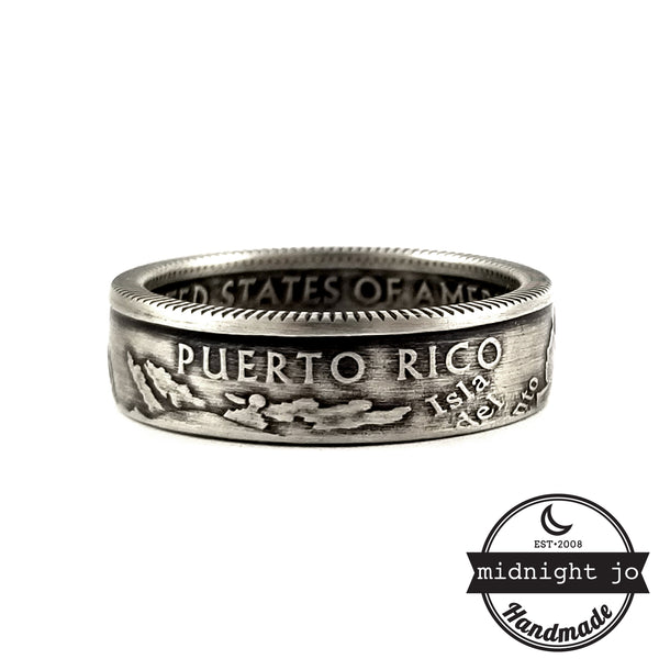 Silver Puerto Rico coin ring by midnight jo