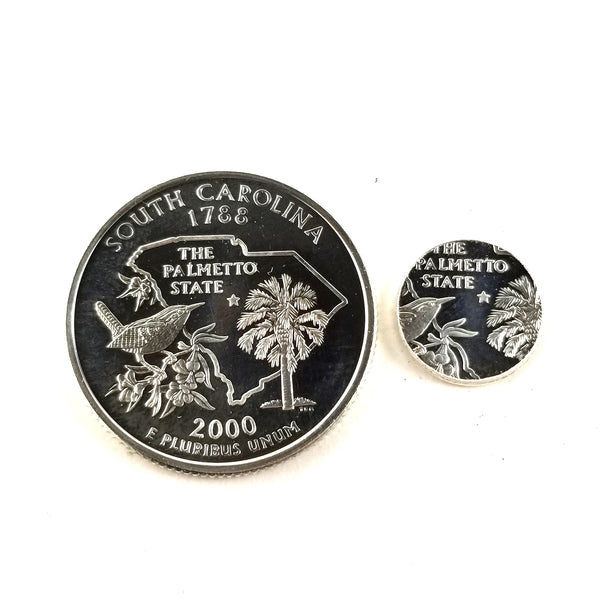 silver south carolina proof quarter and punch out