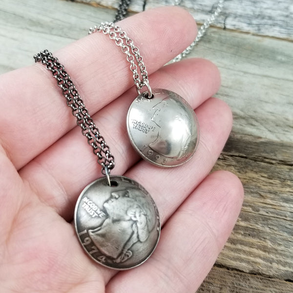 Domed quarter necklace
