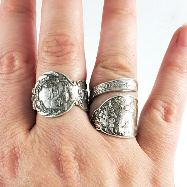 Antique Sterling Silver Native American Chief Souvenir Spoon Ring made to order