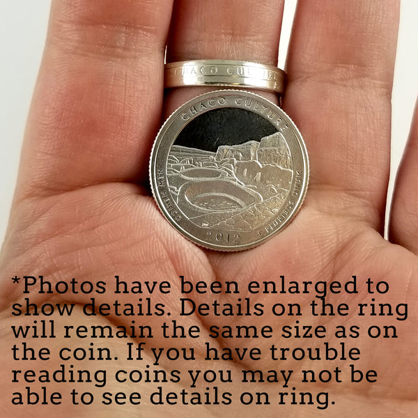 90% Silver National Park Quarter Stacking Coin Ring