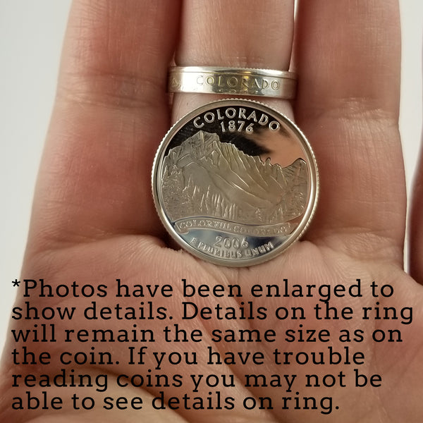 Silver State Quarter Narrow Band Stacking Coin Ring Set