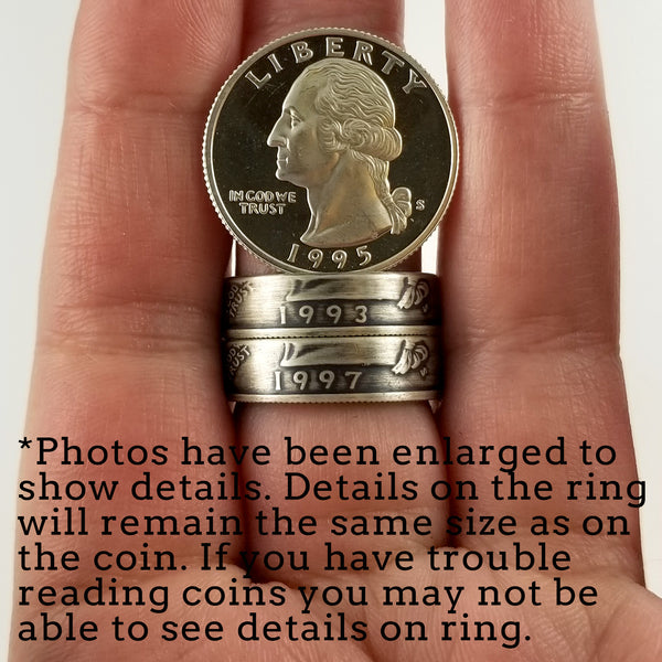 90% Silver 1993 Washington Quarter Ring