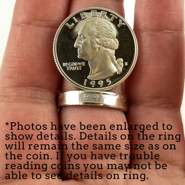 90% Silver 1992-1998 Washington Quarter Stacking Coin Ring