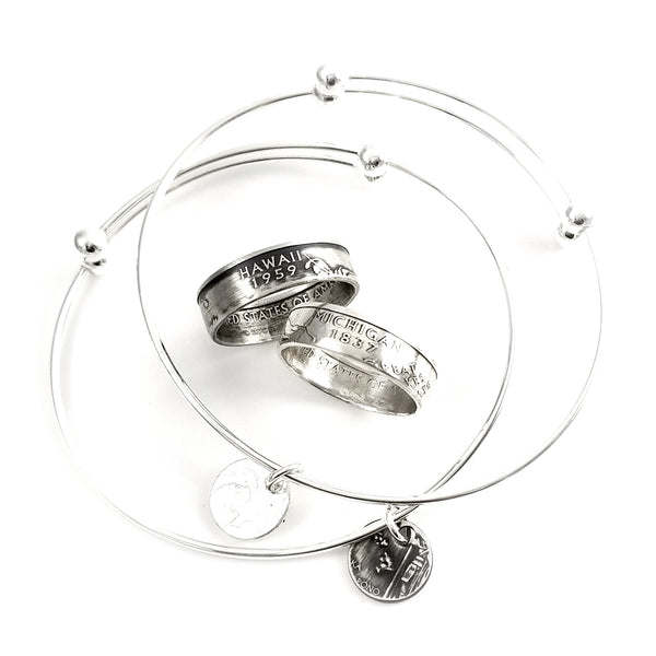 silver state coin ring and charm bracelet set by midnight jo