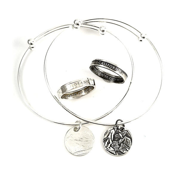 Silver State Coin Stacking Ring and Bracelet Set by midnight jo