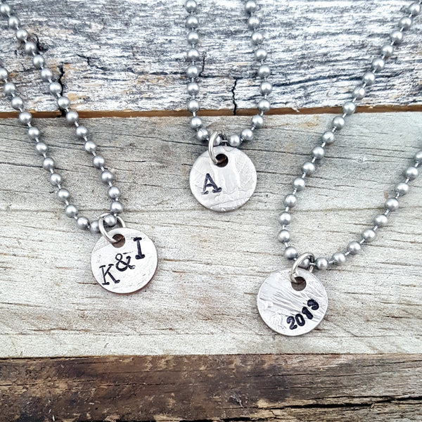 Hand Stamped Charm Necklace Coin Punch Out