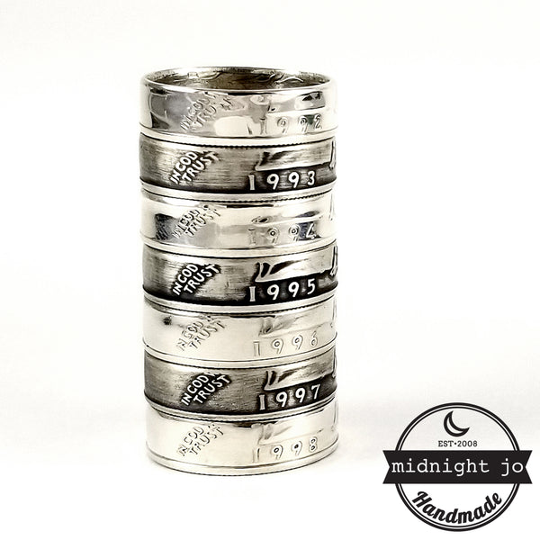 silver washington quarter coin rings by midnight jo