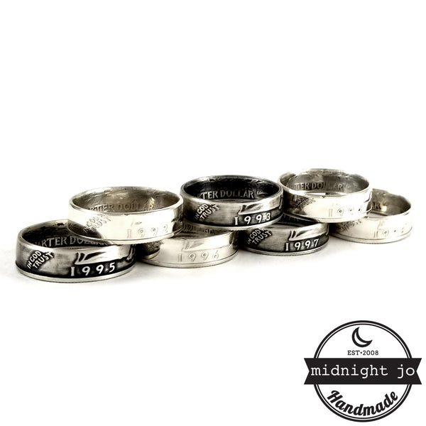 silver washington quarter rings by midnight jo