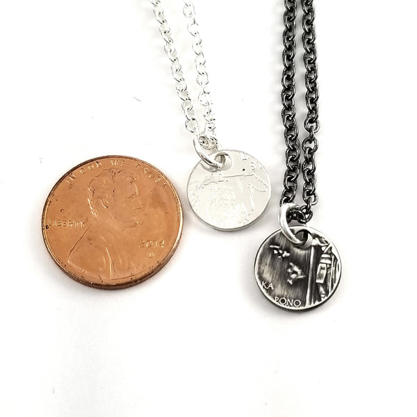 90% Silver State Quarter Punch Out Charm Necklace by midnight jo